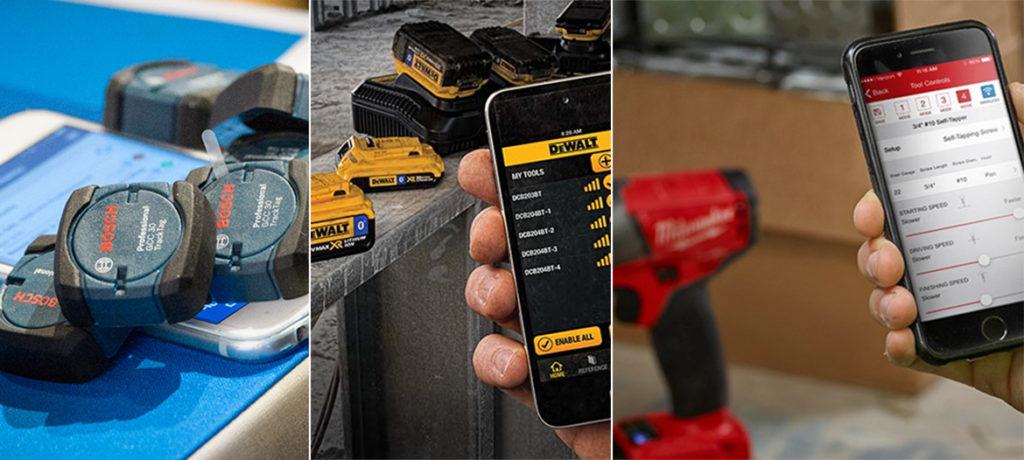 Bosch, Dewalt og Milwaukee. Mobil, app og verktøy.