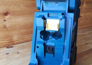DMR110 tar alle Makita batterier, fra 7,2 til 18 Volt. Inkludert de nye 10,8V slide-batteriene.