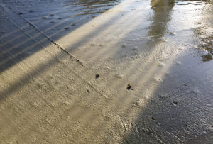 Leca-kulene som ble blandet i betongen flyter opp til overflaten.