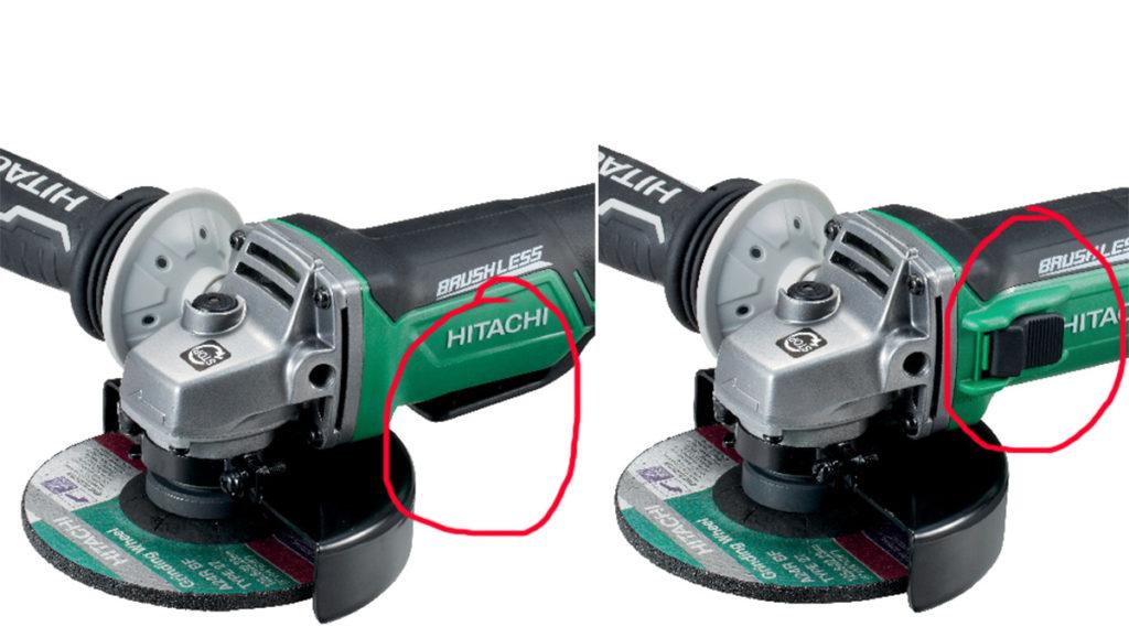 Hitachi vinkelsliper med to forskjellige brytere.