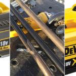 Dewalt XR 18V vinkelsliper kjørt med både Flexvolt 9Ah og XR 5Ah batteri.