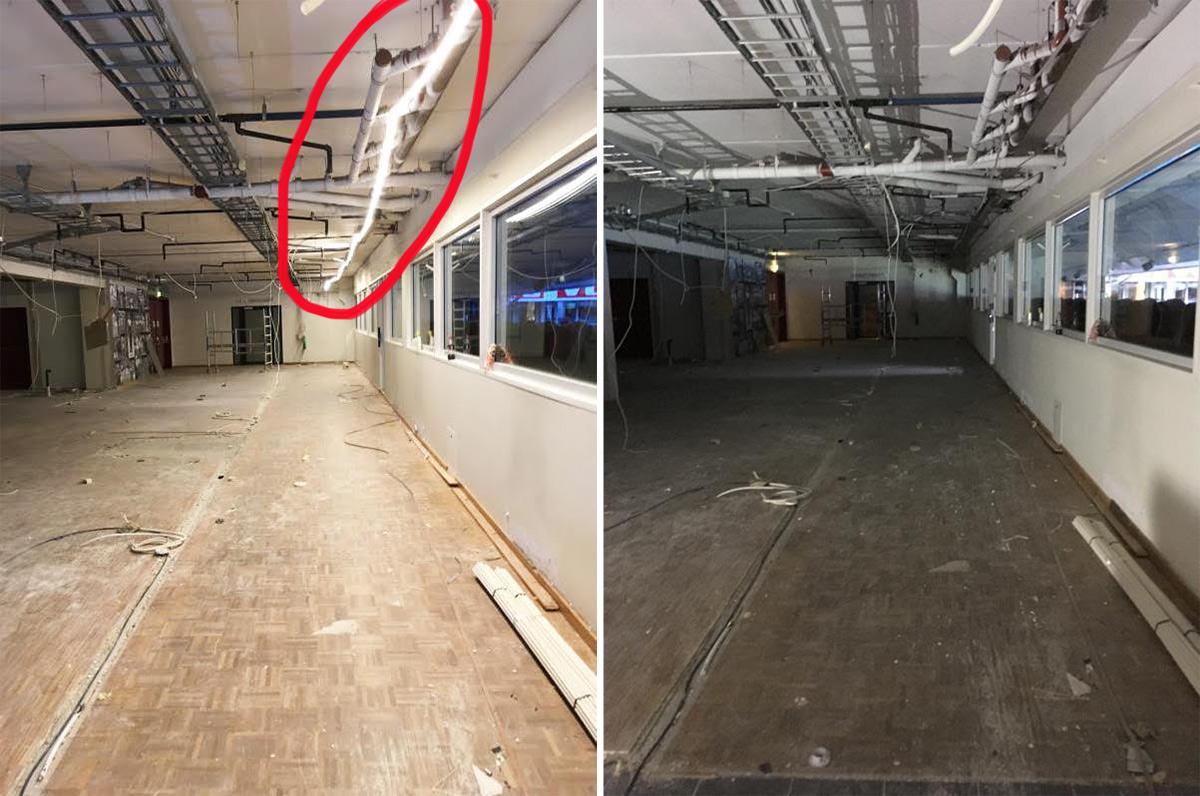 med og uten bruk av LED-stripe på byggeplass