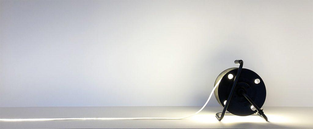 25 meter LED-lys på trommel.