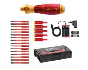 Wiha Speed E i sett med bits, batteri og lader i L-Boxx