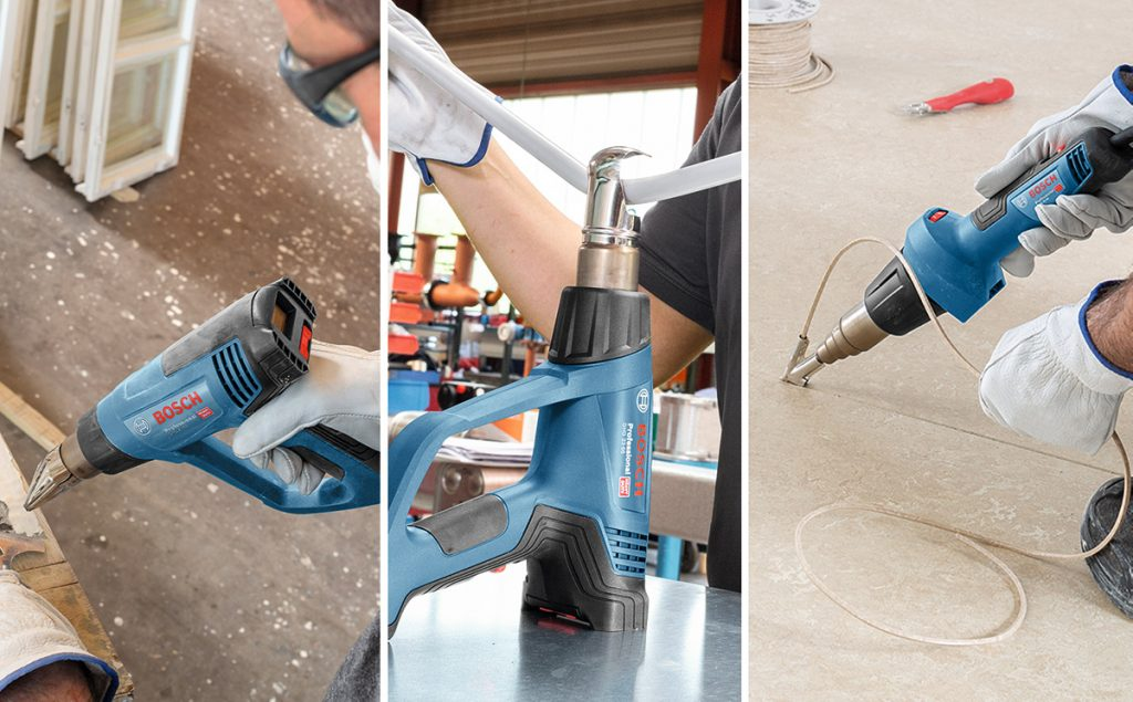 Tre nye Bosch GHG varmluftverktøy.