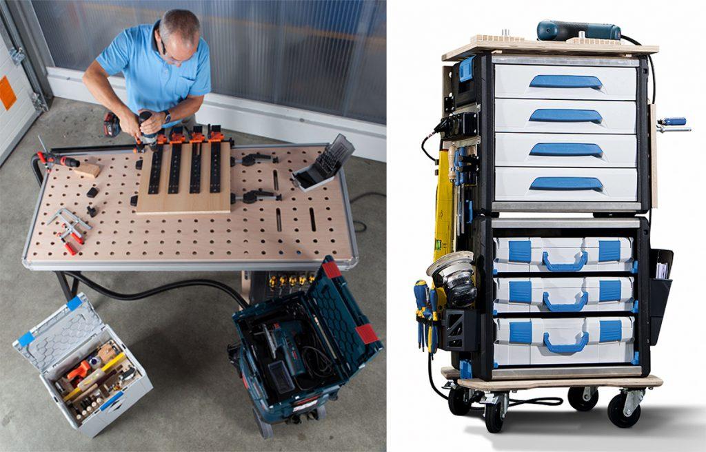 Sortimo Workmo lagring, transport og arbeidsplass.