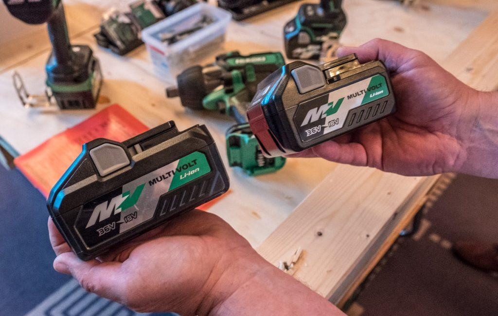 Hikoki Multi Volt batterier. A-batteriet t.h. og det kommende B-batteriet med 21700-celler t.v.