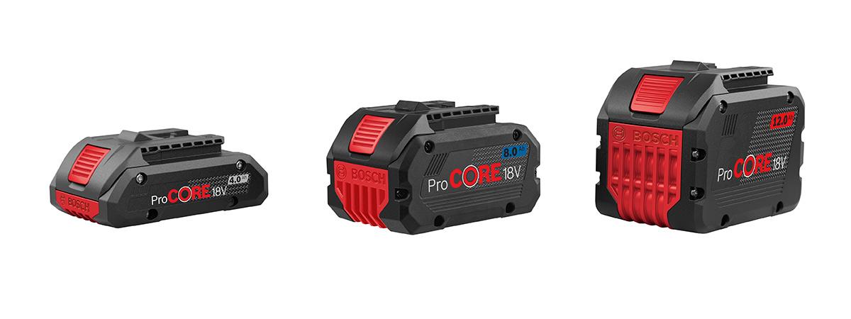 Bosch ProCore batterier på 4, 8 og 12 Ah.