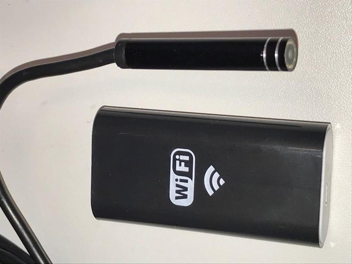 InspectorCam inspektorkamera, linse og trådløs wifi-enhet.