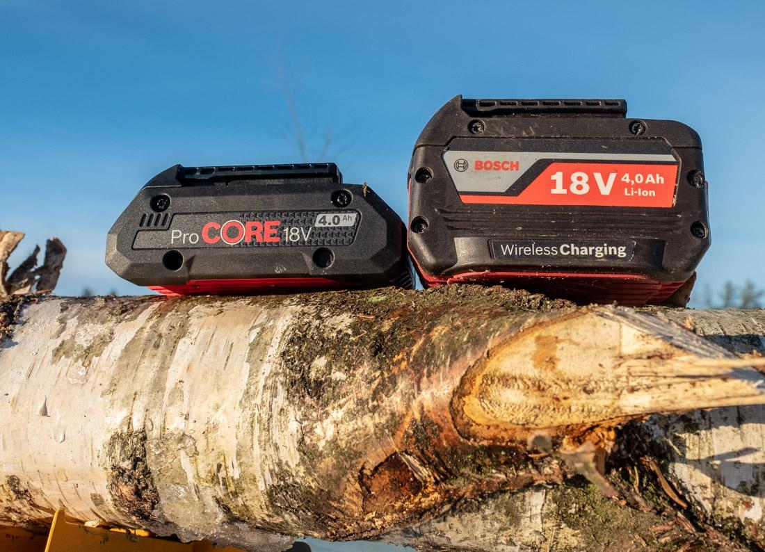 Bosch 4,0 Ah ProCore (t.v.) og standard wireless batteri