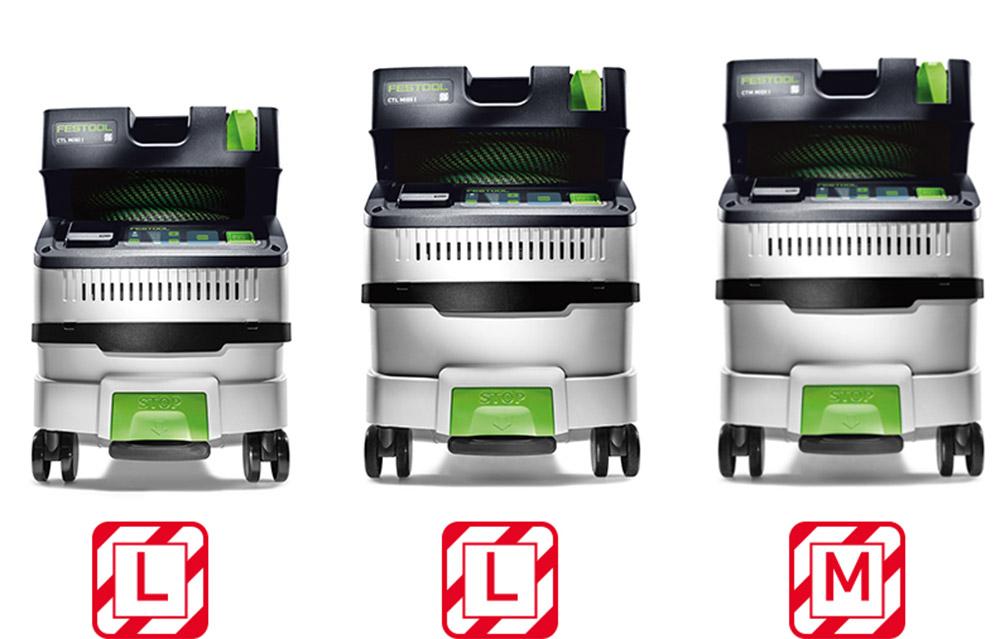 Festool CTL Mini, CTL Midi og CTM Midi.