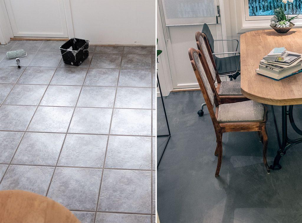 Ett av to gulv før og etter pussing med Conteco mikrobetong.