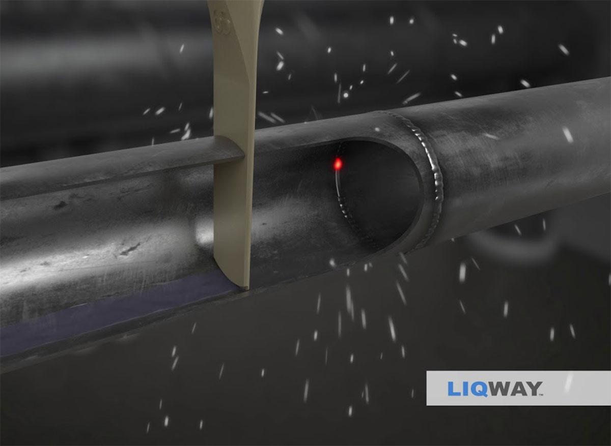 DryWeld VS suger den siste sildringen i røret unna rørskjøten og sveisefugen.