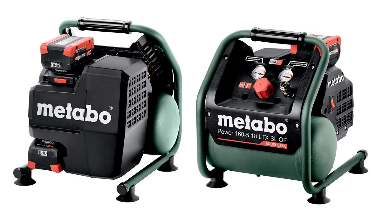 Metabo Power 160-5 18 LTX har ett luftuttak, to manometere og plass til reservebatteri.