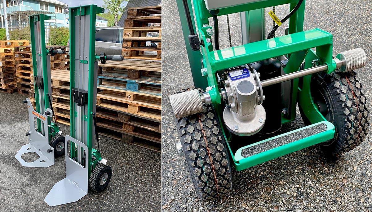 Tiller Liftmobile løfter 110 cm høyt og har elektrisk framdriftshjelp på hjula.