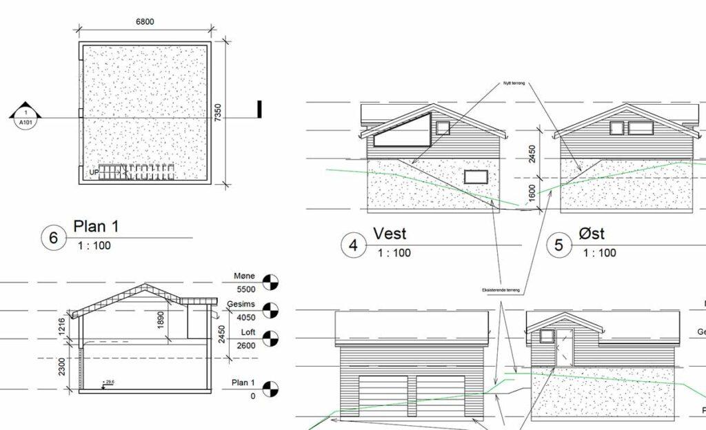 H22 - tegning av garasje