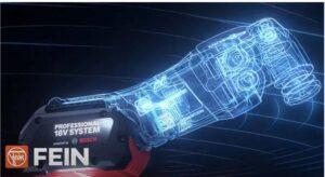 Designskisse av Fein Multimaster med Bosch batteri.